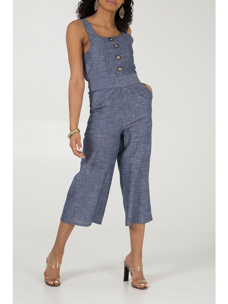 LADYLIKE FASHION Chambray Jumpsuit Denim Blue