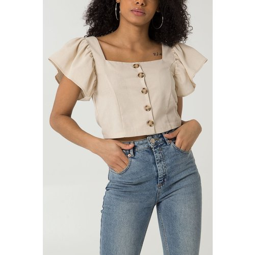 LADYLIKE FASHION Angel Sleeve Button Front Crop Top Beige