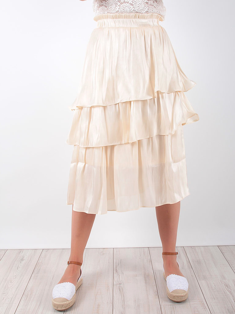 LADYLIKE FASHION Beige Ruffled Satin Layered Skirt