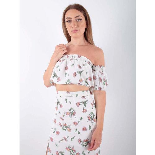 LADYLIKE FASHION Bardot Top Floral Print White