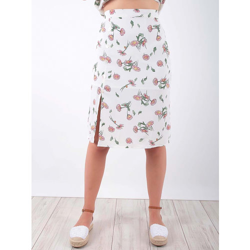 LADYLIKE FASHION Skirt Floral Print White