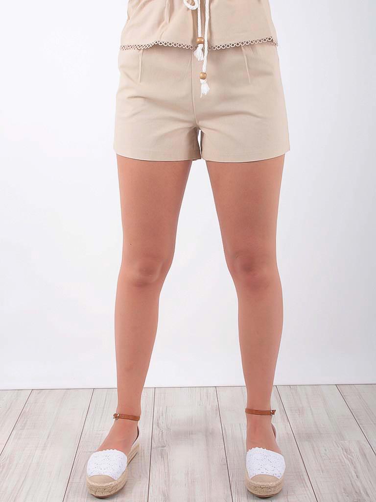 LADYLIKE FASHION Cotton Short With Drawstring Waist Beige