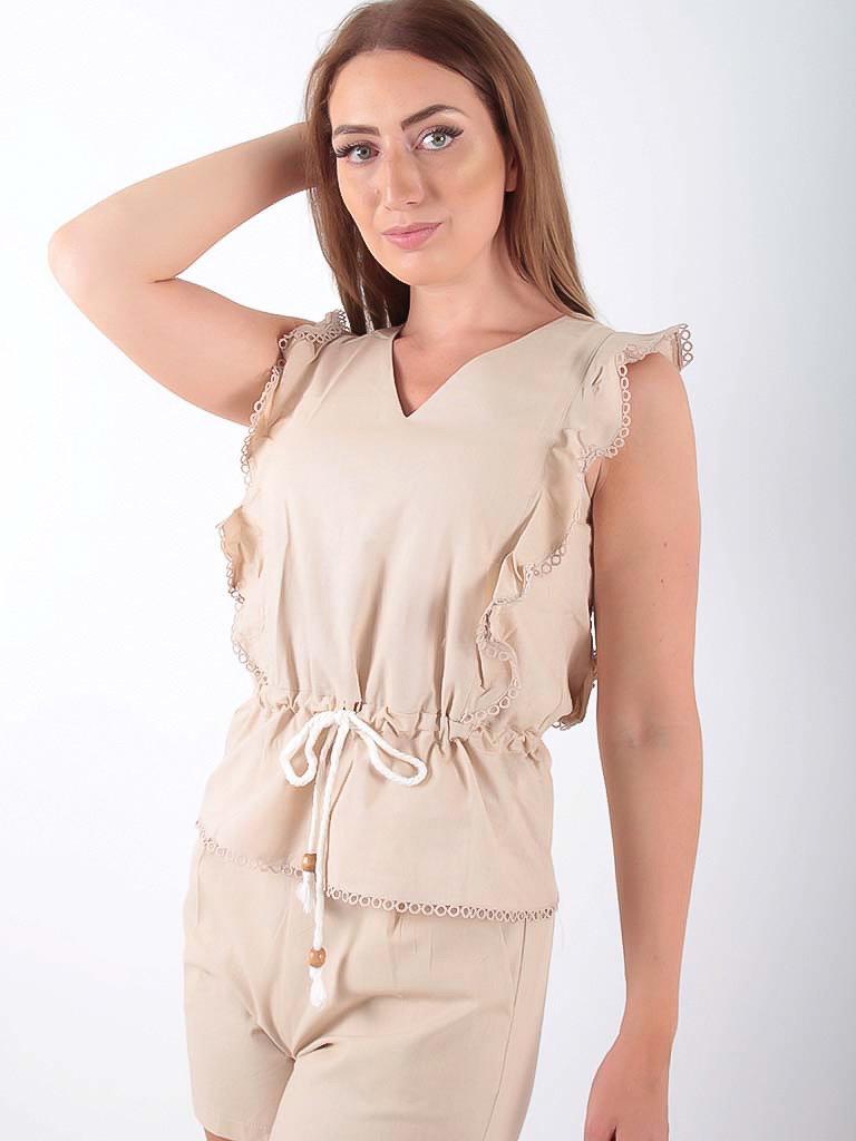 LADYLIKE FASHION Cotton Top With Drawstring Waist Beige