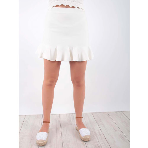 LADYLIKE FASHION Wavy Mini Skirt Ecru