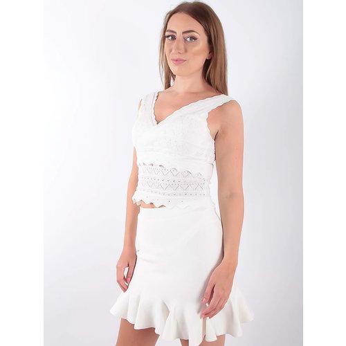 Lace Knit Crop Top White