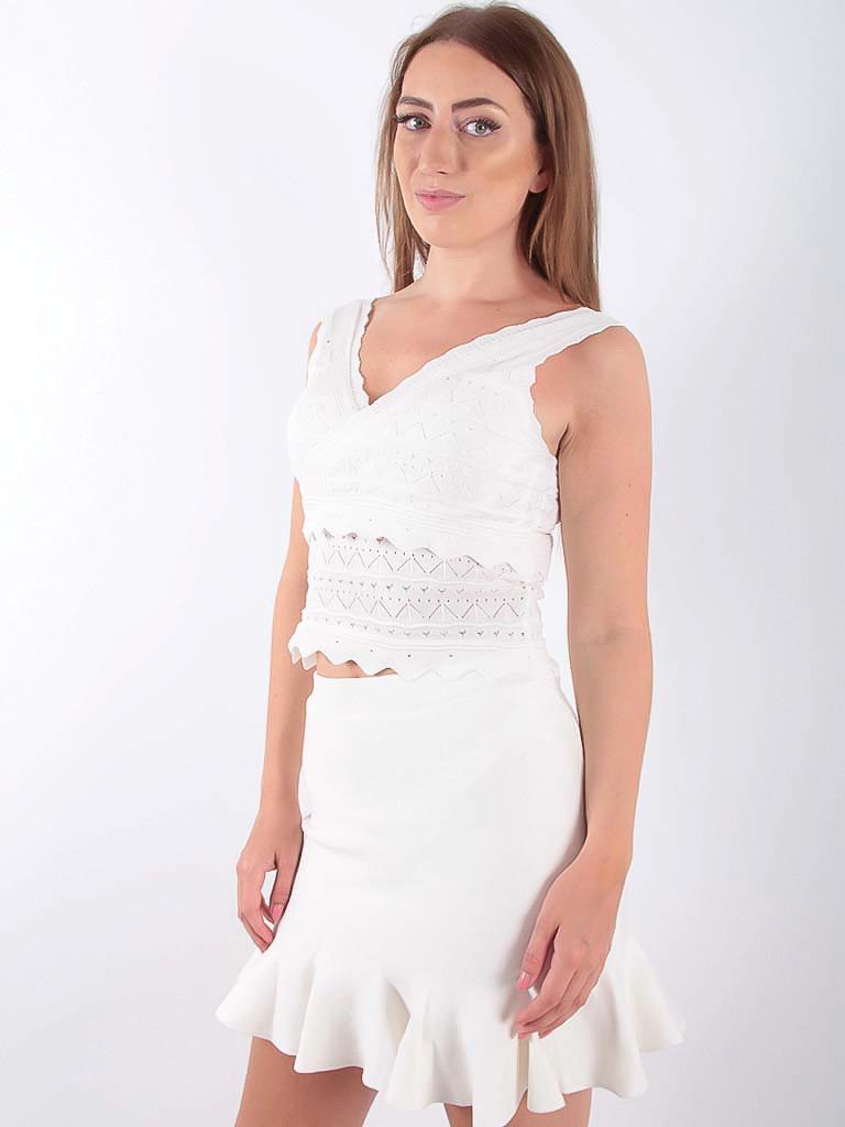 Lace Knit Peplum Top White