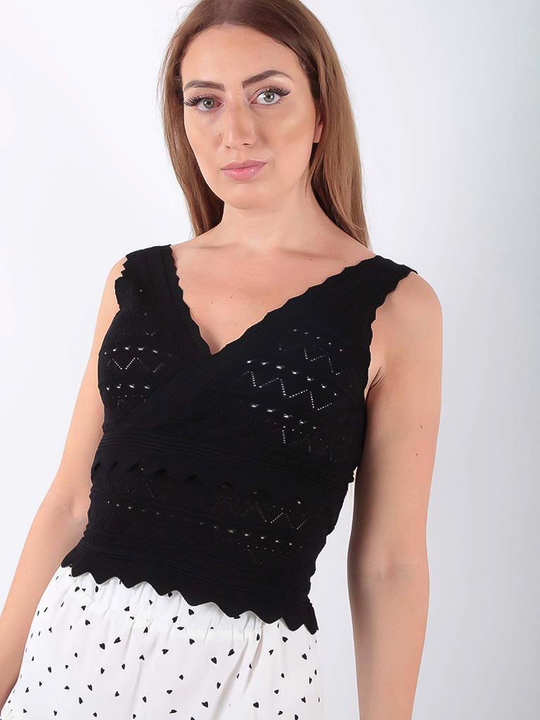 LADYLIKE FASHION Lace Knit Crop Top Black
