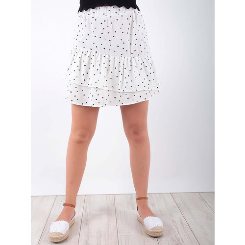 LADYLIKE FASHION Heart Print Frill Skirt White