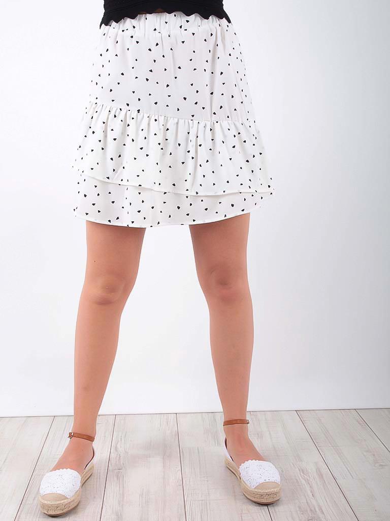 EIGHT PARIS Heart Print Frill Skirt White