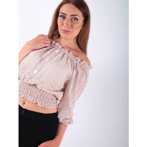 LADYLIKE FASHION Off shoulder blouse Beige