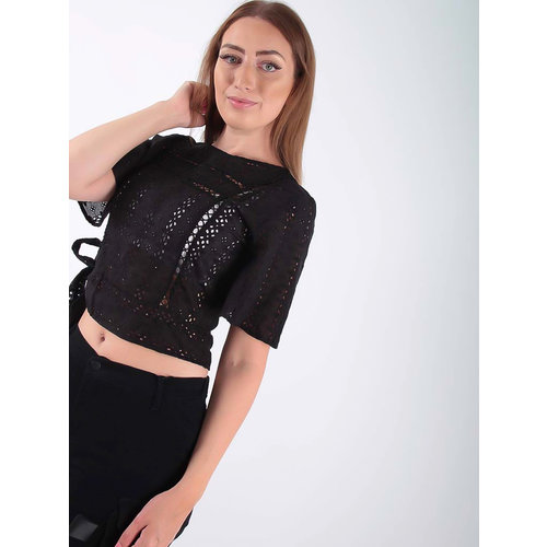 LADYLIKE FASHION Embroidered and perforated blouse Black