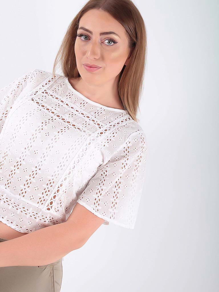 LANTIN Embroidered and perforated blouse White