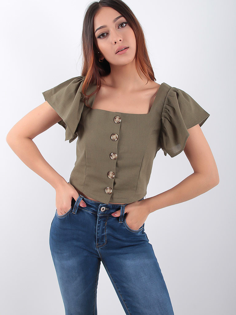 LADYLIKE FASHION Angel Sleeve Button Front Crop Top Khaki