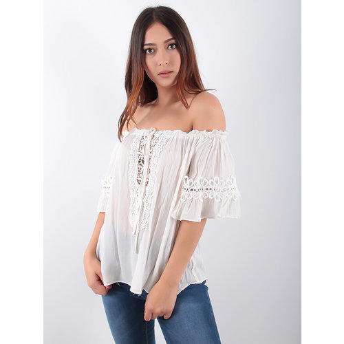 LADYLIKE FASHION Bardot Lace Trim Blouse White