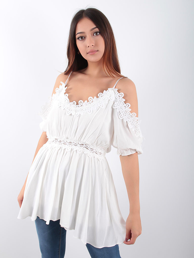 LADYLIKE FASHION Off Shoulder Peplum Blouse White