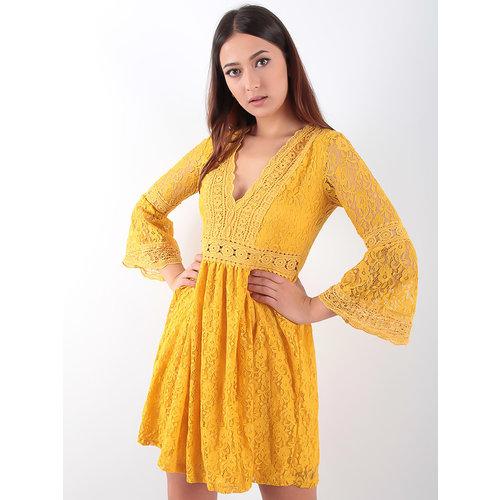 LADYLIKE FASHION Lace V-Dress Mustard
