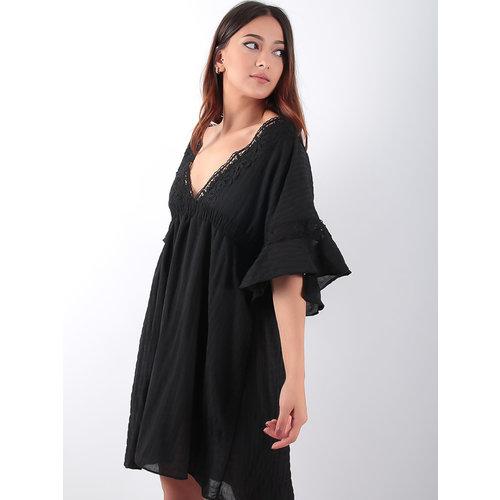 LADYLIKE FASHION Wide Lace Trim Dress Black