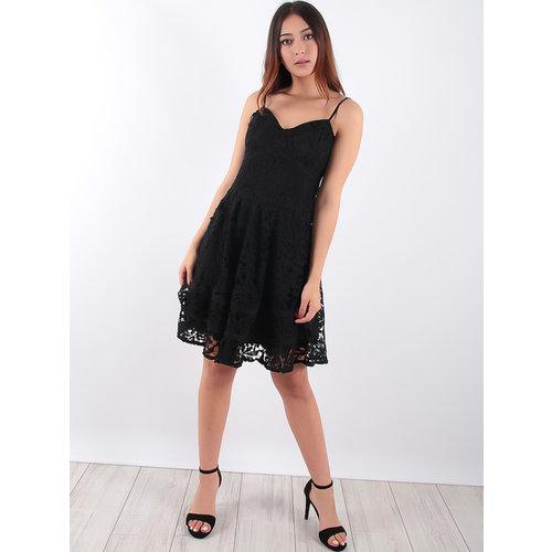 LADYLIKE FASHION Lace Skater Strap Dress Black