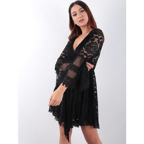 LADYLIKE FASHION Asymmetrical Long Sleeves Lace Dress Black
