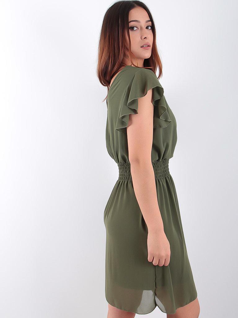 LADYLIKE FASHION Voile Lace Trim Dress Khaki