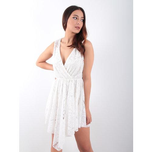 LADYLIKE FASHION Asymmetrical Lace Dress White