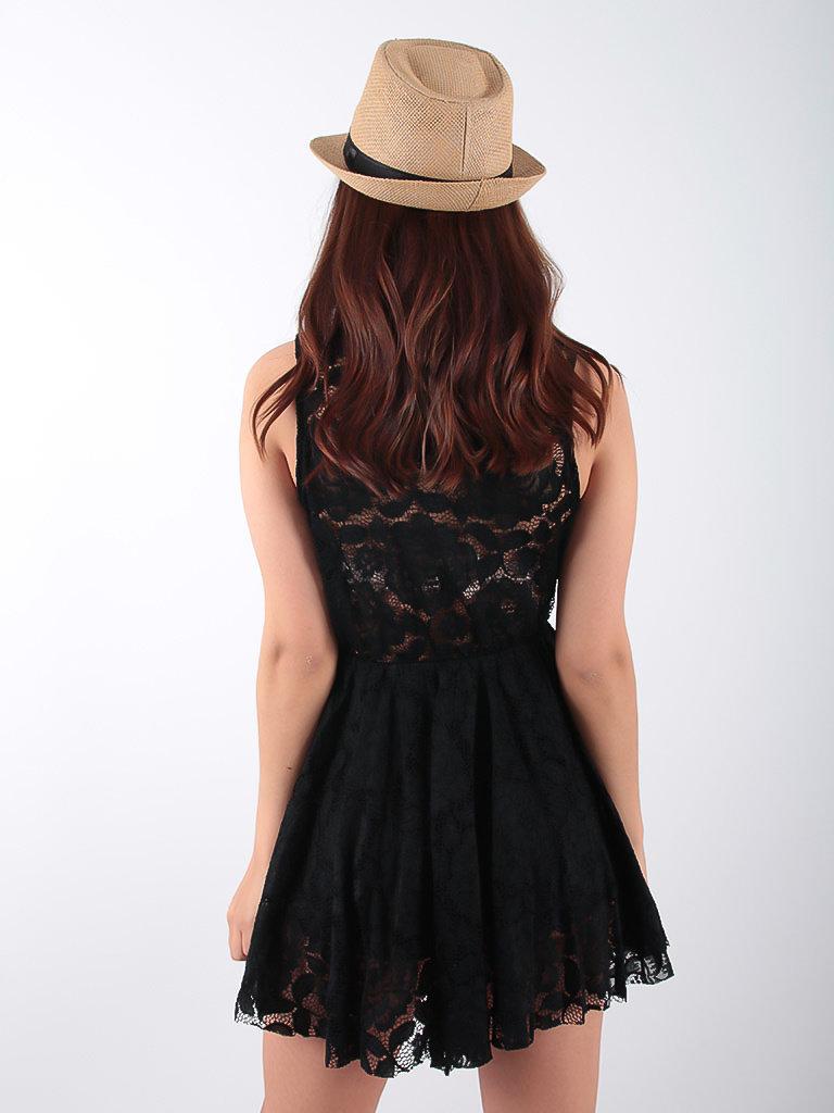 LADYLIKE FASHION Asymmetrical Lace Dress Black