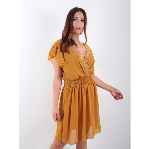 LADYLIKE FASHION Voile Lace Trim Dress Mustard