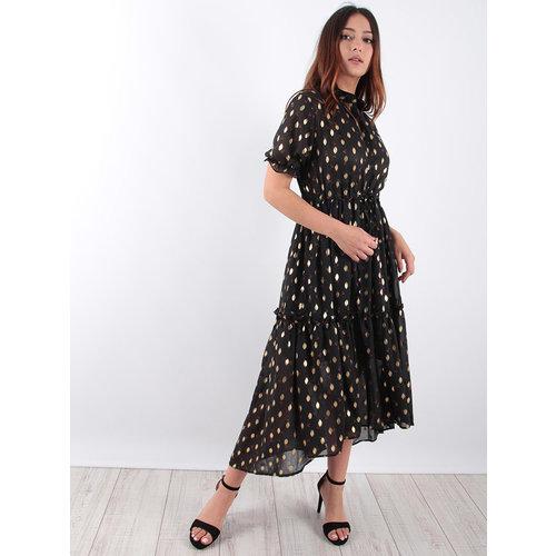 LADYLIKE FASHION Black Cherry Dress Gold Detail
