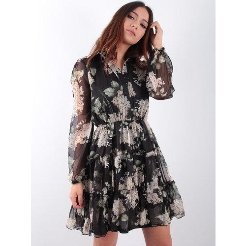 IVIVI Black ruffle flower dress