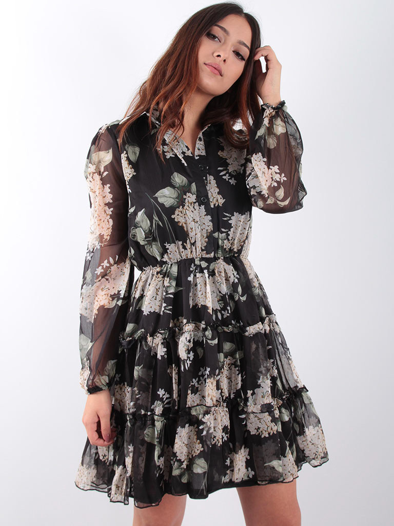 LADYLIKE FASHION Black ruffle flower dress