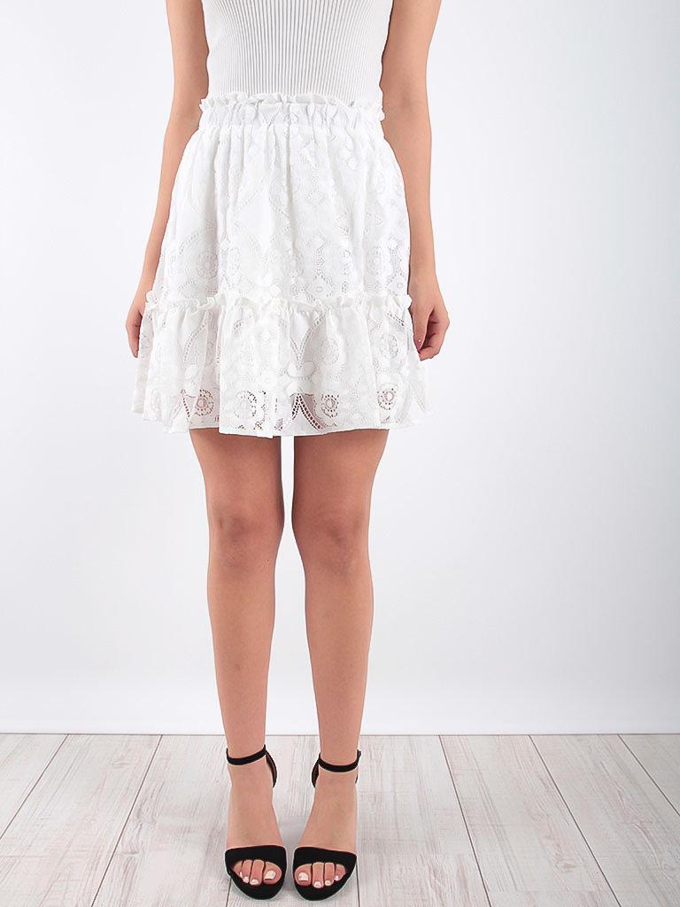 DRŌLE DE  COPINE Lace Frill Hem Skirt White