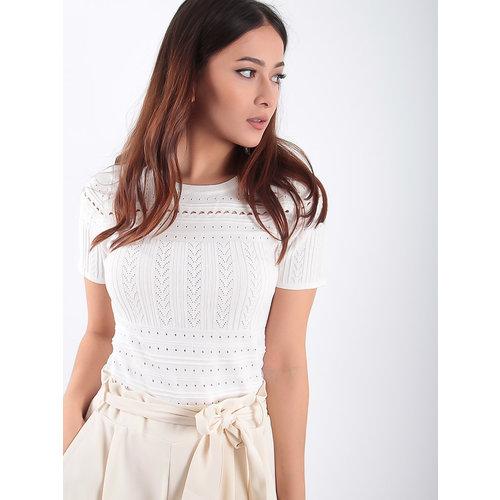 LADYLIKE FASHION Lace Knitted Short Sleeves Shirt White