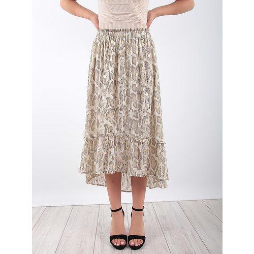 LADYLIKE FASHION Snake Print Frill Hem Midi Skirt Beige