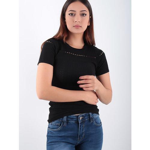 LADYLIKE FASHION Lace Knitted Short Sleeves Shirt Black