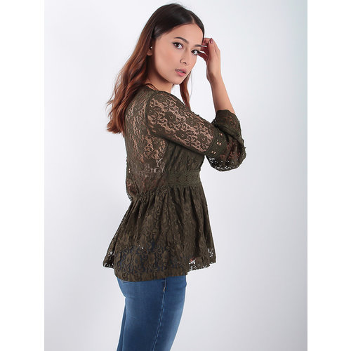 VINTAGE DRESSING Lace Peplum Top Khaki