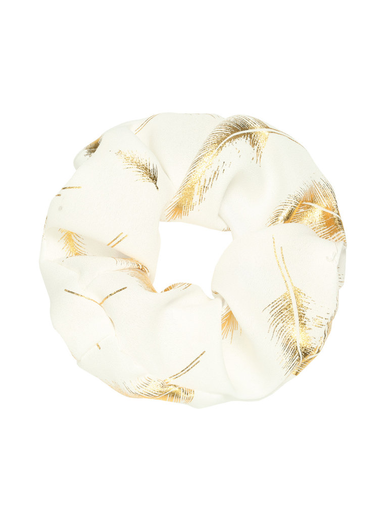 LADYLIKE FASHION Scrunchie Golden Feather White