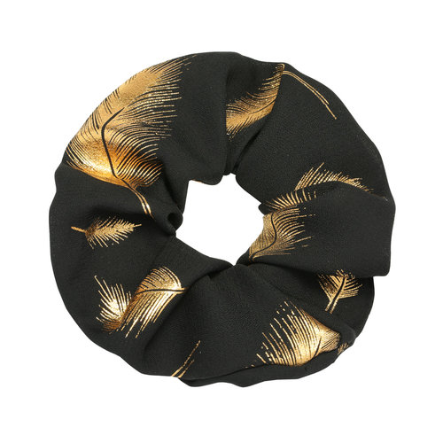 LADYLIKE FASHION Scrunchie Golden Feather Black