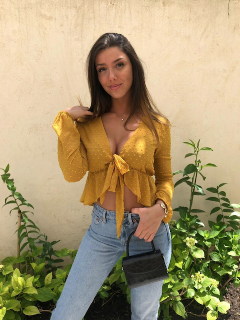 LADYLIKE FASHION Dot Print Crop Blouse Mustard