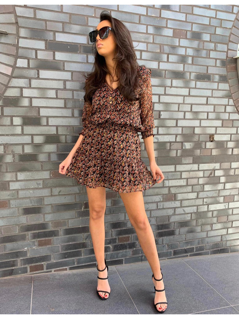 67eb43ca925a LADYLIKE FASHION Ruffled Skirt Gold Leaves Print Brown