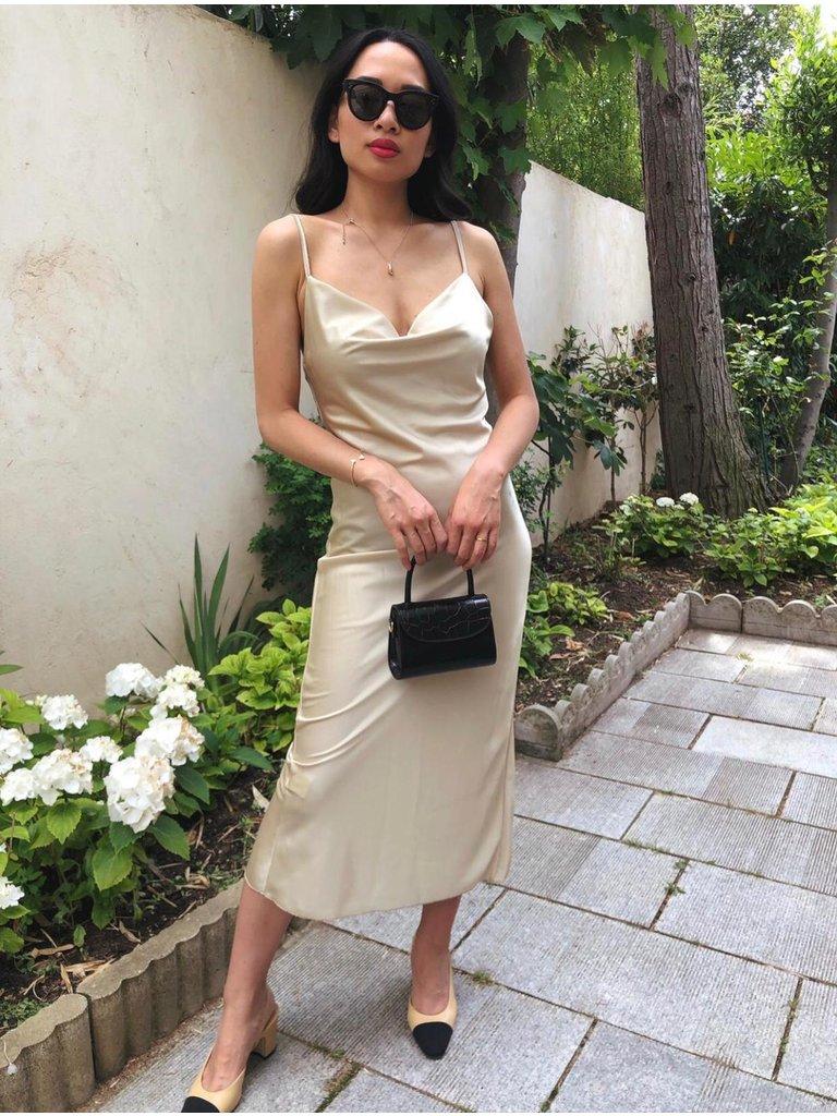 LADYLIKE FASHION Satin Midi Dress Beige
