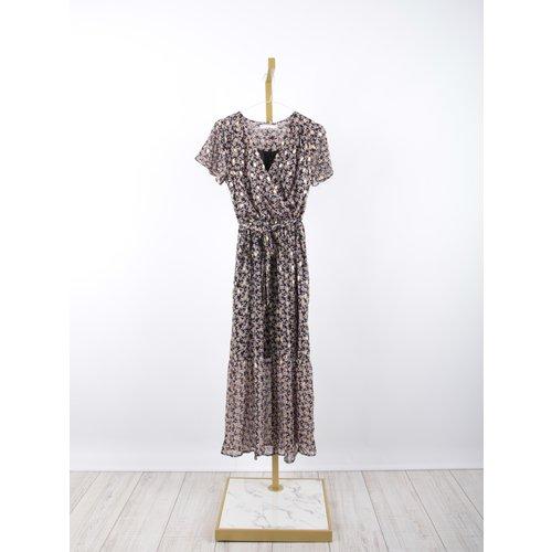 LADYLIKE FASHION Maxi Print Dress Gold Detail Blue