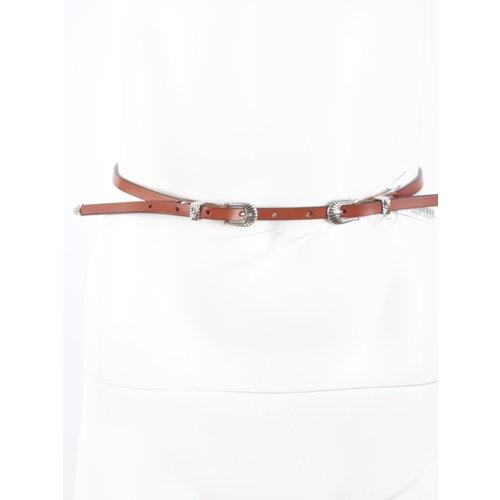 LADYLIKE FASHION Small Leather Belt Camel