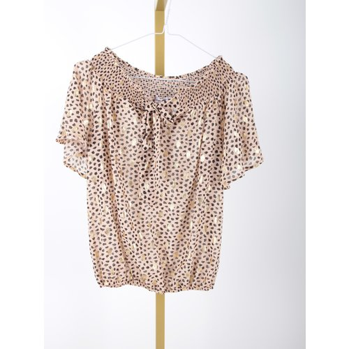 LADYLIKE FASHION Gold Detailed Bardot Top Beige