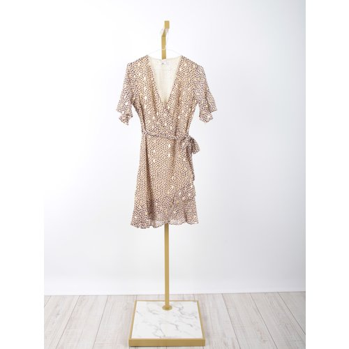 LADYLIKE FASHION Gold Printed Wrap Dress Beige