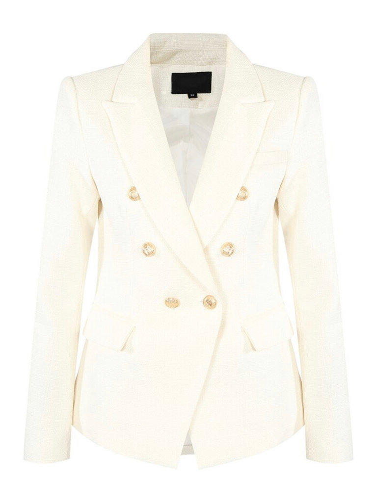 LADYLIKE FASHION Double Brest Hopsack Blazer White