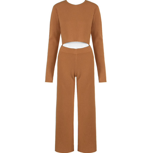 LADYLIKE FASHION Ribbed Trousers Camel