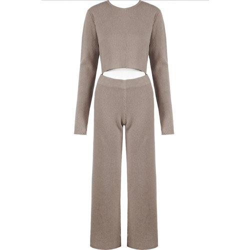 LADYLIKE FASHION Ribbed Trousers Taupe