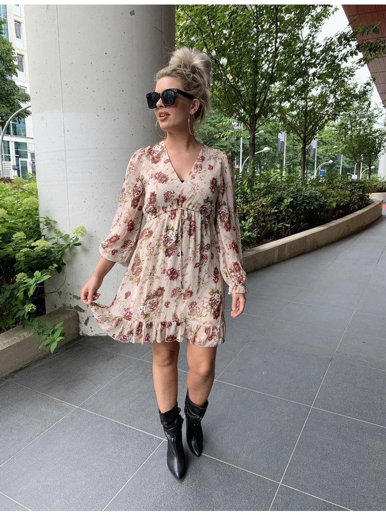 LADYLIKE FASHION Ruffle Hem Floral Dress Beige