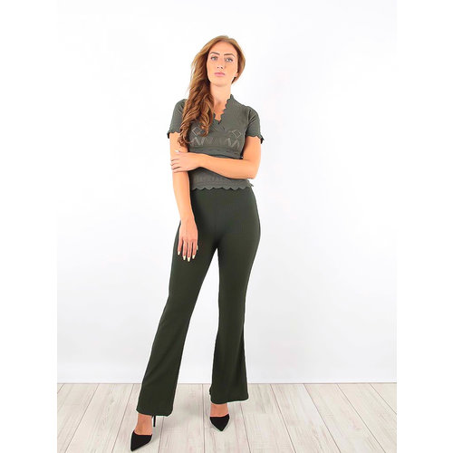LADYLIKE FASHION Ribbed Flared Trousers Green