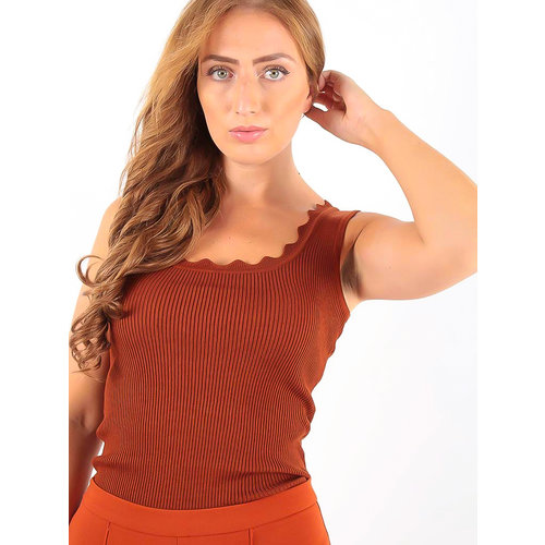 Vintage Dressing Rib Top Rust